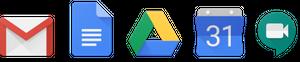 Logotipos do aplicativo Google Workspace.
